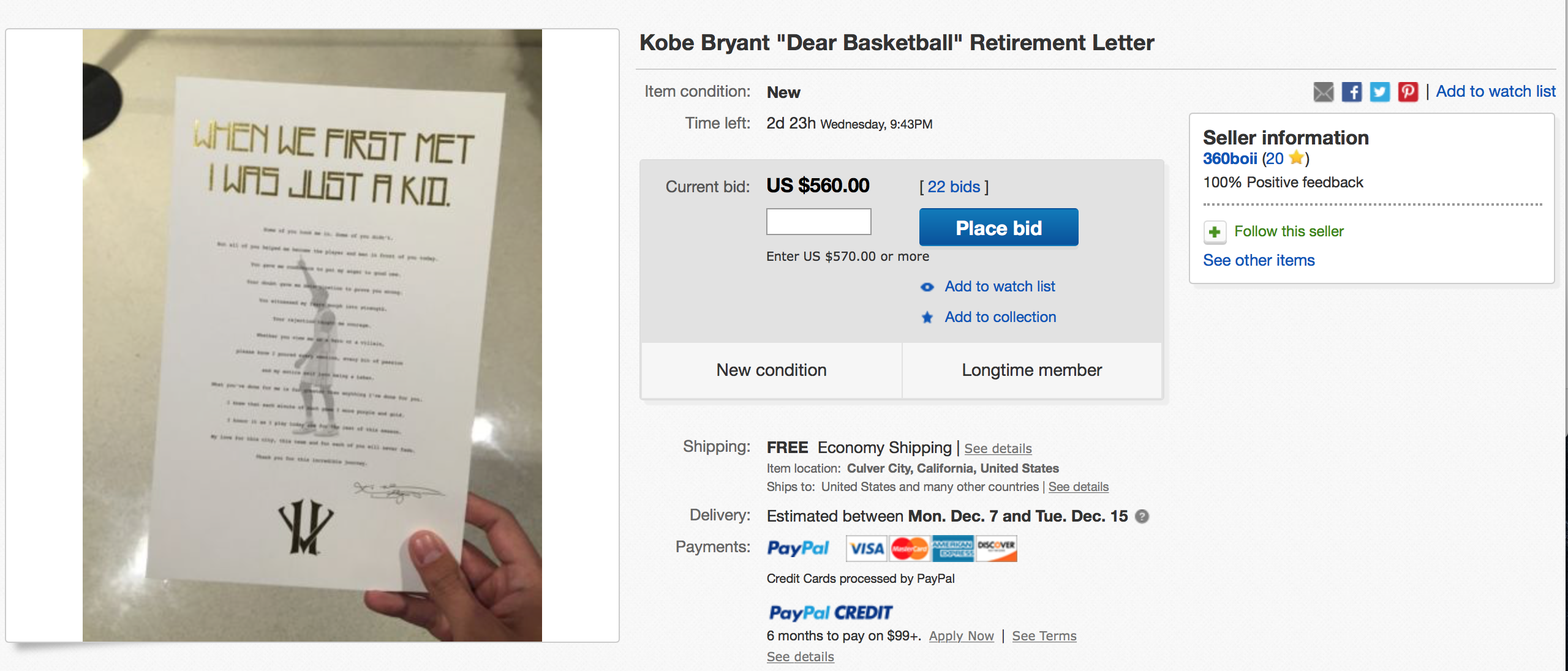 Kobe Bryant: Letter To Fans Already For Sale on eBay